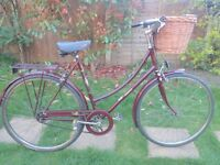 LADIES VINTAGE RALEIGH CAMEO 3 SPEED ROADSTER/TOWN BIKE WITH WICKER BASKET LIKE PASHLEY