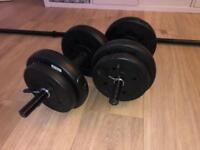 vinyl barbell and dumbell set 22.5kg