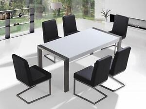 Dining Set with Table and 6 Chairs - Stainless steel - White - ARCTIC