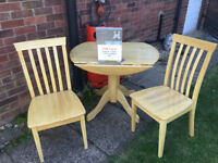 Small Round Drop Leaf Table 36in Dia & 2 Chairs