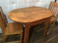 Pine dining table plus 2 chairs