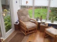 Conservatory furniture, 2 seater sofa, 2 armchairs, footstool, glass topped small lamp table. G.cond