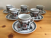 Vintage (1970s) 6 Greek expresso cups/demitasse & saucers in a traditional design. Can post. £8 ovno
