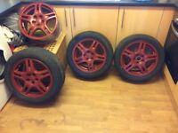 16in Subaru 5 stud 5 spoke racing red alloys