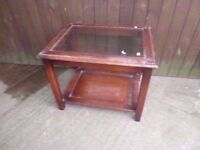 Coffee Table wood frame with Clear Glass Top Delivery Available