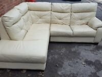 Very nice cream leather corner sofa. Good used condition. Can deliver