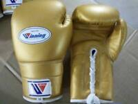 Cowhide leather laced boxing gloves