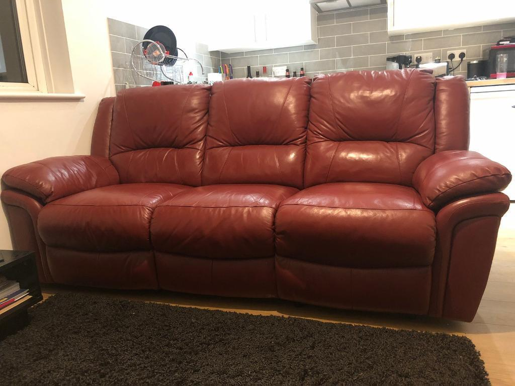 Dark Red 3 Seater Leather Sofa In Romsey Hampshire