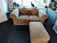 Chesterfield sofa, armchair and foot stool
