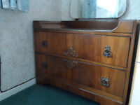 1950s chest of 2 draws/dressing table with large mirror