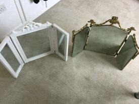 Pair of triple dressing table mirrors