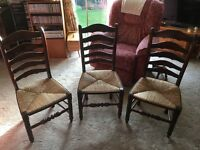 Three Antique billinge ladder dining chairs