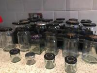Jars with lids, completely cleaned. 24 med, 1 lg and 4 small