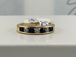 #3735 14K YELLOW GOLD LADIES SAPPHIRE & DIAMOND RING WITH DIAMOND ENGRAVED LOVE INSIDE OF BAND *SIZE 5 1/4*