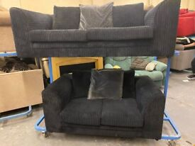 NICE HARVEYS BLACK FABRIC CORD 3+2 SOFA SET IN EXCELLENT CONDITION FREE DELIVERY