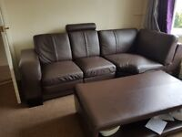 6 seather brown sofa + table + chairs Bargain