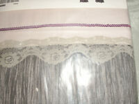 Very pretty pair of Ikea Blomvivel crinkle taffetta, lace, cotton curtains