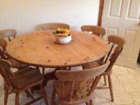 Solid Antique Pine Table and 6 Fiddleback Chairs