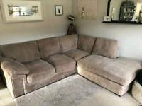 Cargo Sienna Jumbo Cord, Corner Sofa Bed - Mink, Great Condition, DELIVERY AVAILABLE
