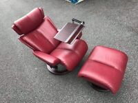 Ekornes Stressless Magic Recliner & Footstool, Burgundy Leather - Showroom Condition -PossDelivery