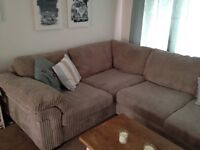 Large Corner Sofa Grey Cordroy