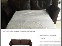 RRP £1799 MARKS AND SPENCERS LEATHER ABBEY SOFA BED £400 bed not used.