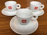 Illy porcelain coffee / cappuccino cups & saucers x6