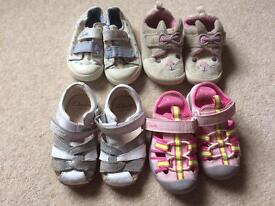 Girl's Clarks summer shoes bundle Size 5 infant