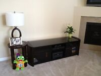 Large Dark wood TV stand with sliding glass doors