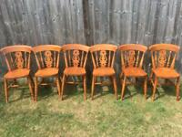Set of 6 beech farmhouse style kitchen / dining chairs