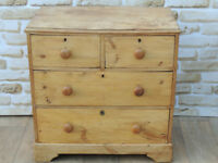 Antique Compact Size Rustic Chest of Drawers (Delivery)