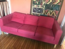 Ikea 3seater red colour in an immaculate condition