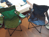 2 x Folding Camping / Garden Chairs with Drinks Holders
