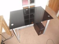 Black Glass Home Office Student Kids Desk Occasional Table