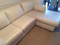 Marks & Spencer's large white leather sofa for sale