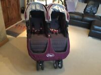 Twin Buggy - City Mini, Baby Jogger - Aubergine/Charcoal, with rain cover. Very good condition.