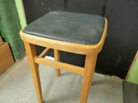 Vintage Small Bar Stool Seat Leatherette and Wood