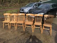Six solid beech dining chairs ( 2 carvers and four standard) Solid and no movement