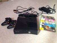 Xbox 360 with Kinect, all leads and 2 controllers