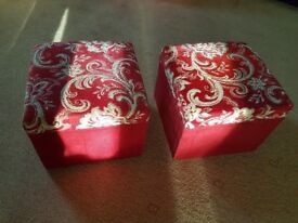 2 x small square red/cream footstools