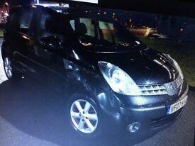 Nissan Note 1.4 SE , 5 Door,Black,Fsh,Alloys,Air Con,2 Owners,Very Long Mot, Warranty 3 Months