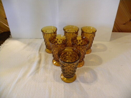 Vintage Indiana Glass Amber Footed Glasses Set of 8