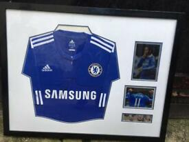 Signed Framed Didier Drogba Chelsea Shirt & collage