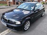 BMW 318ci se coupe 2002, black, 5 speed manual, 3 door, 99k s/h, mot may 2018