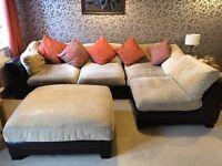 Brown leather and material modular corner sofa