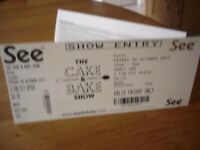 2 Tickets for 'Cake and Bake' Show - ExCel, London - Friday 6th October 2017