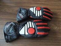 Black and red leather biking gloves with protective pads