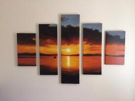 Sun set oil painting made up of five individual canvases
