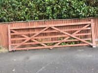 Solid wood garden gate 3.2 m wide 1.2m high. Good condition
