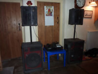 DISCO SPEAKERS AMP AND BEHRINGER MIXER FOR SALE